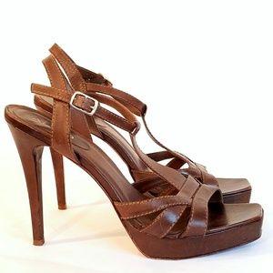 ALDO Brown Leather Strappy High Heel Sandals